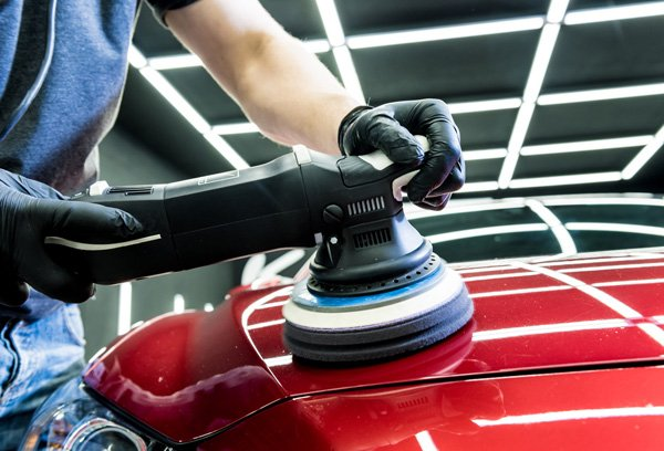 car cleaning with orbital polisher